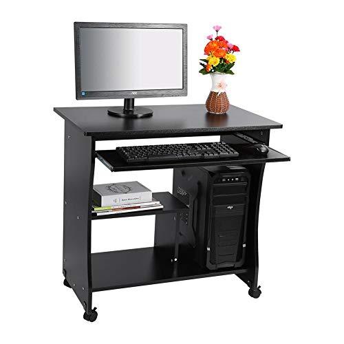Escritorio Mesa para ordenador Mesa de oficina Mesa para computado Mesa para ordenador con cajón para teclado y compartimentos abiertos Mesa de madera para portátil con ruedas Negro, 80 x 49,5 x 76 cm