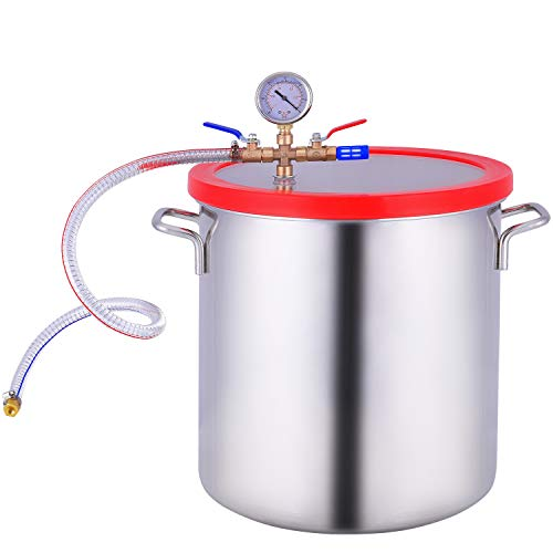 5 Gallon Vacuum Chamber Stainless Steel, Tempered Glass Lid Pressure Degassing Chamber, Pressure Pot for Resin Casting, Degassing Silicones and Essential Oils, Perfect for Stabilizing Wood