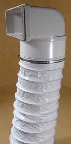 VentilationNord Flachkanal 220x90mm Ø150 Dunstabzugshaube Verbinder, Übergang auf Rund (Übergang 220x90 mit Kunststoffschlauch Ø150)