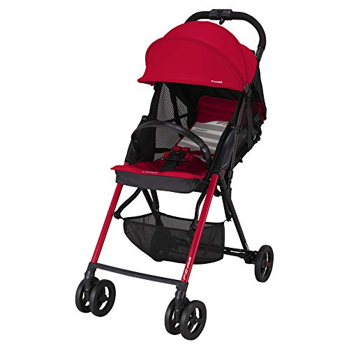 Combi Ultra Lightweight F2 AF Plus Umbrella Stroller | 8.25 Lbs Total Weight | Reclining Back & Shock-Absorbing Frame | One-Touch Harness w/Full Mesh Seating | Easy Lock Wheels & XL Canopy | Red