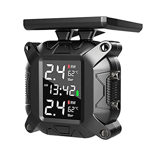 Boyuan Sistema de monitoreo de presión de neumáticos para Motocicletas, 7 Modos de Alarma, Carga Solar inalámbrica, Impermeable, con 2 sensores externos, TPMS para Motocicletas de Dos Ruedas