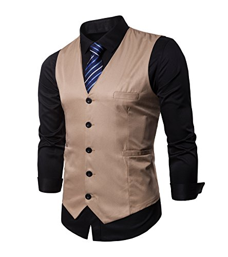 AOYOG Mens Formal Business Vest for Suit or Tuxedo Champagne