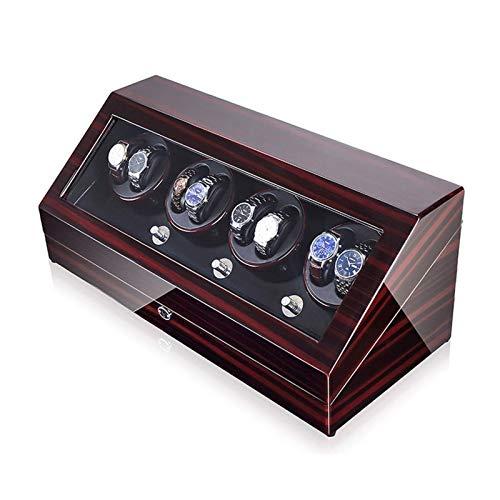 WXDP Enrollador de Reloj automático,Caja de bobinado automática de Madera para Relojes, 5 Motores giratorios y japoneses, se Adapta a la mayoría de los rel