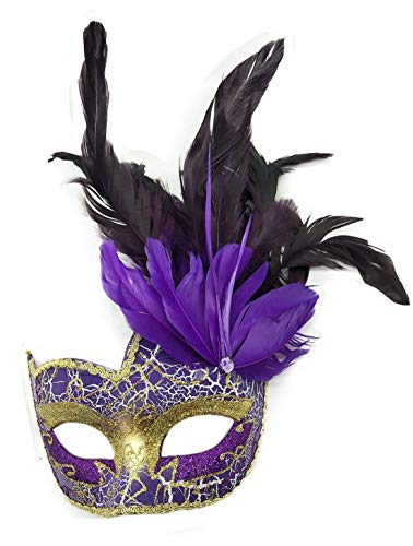 Costume Mask Feather Masquerade Mask Halloween Mardi Gras Cosplay Party Masque (Crack Purple)