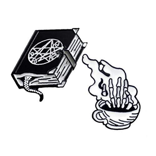 Zonfer 2st Halloween Brosche Black Magic Buch Weiß Hand Kaffeetasse Pin-Karikatur-emaille-brosche-Rucksack-Beutel-Revers-Punk Dunkle Abzeichen Geschenk