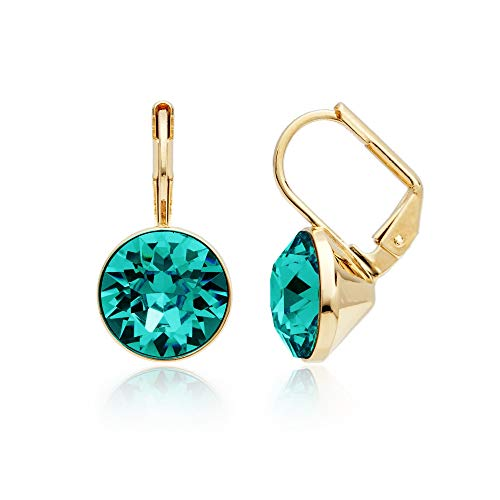 MYJS Bella Earrings with 4 Crt Blue Zircon Crystals Gold Plated