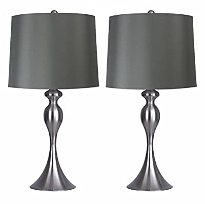 """Grandview Gallery Table Lamps with Dark Grey Lamp Shade, Set of 2 - Brushed Nickel Body with Grey Linen Shade, 26.5"""" Table Lamps for Bedrooms, Dressers, Buffets and More - ST90215FQ-(W)"""