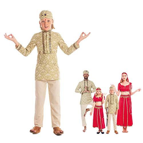 Disfraz Hind Nio Fakir Turbante BollywoodTallas Infantiles 3 a 12 aos[Talla 7-9 aos] Disfraz Carnaval Nio Nacionalidades Indio Prncipe rabe Turbante Fiesta Actuaciones Desfiles Festivales