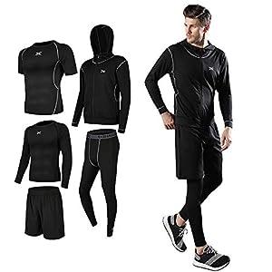 メンズ コンプレッションウェア 上下セット トレーニングウェアスポーツウェア ランニングウェア パーカー 長袖シャツ 半袖シャツ ハーフパンツ タイツ
