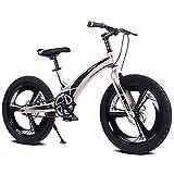 SHARESUN 20 Pouces Enfants vélo pour garçons et Filles, siège de Frein à Disque en Alliage de magnésium réglable Vitesse Unique vélos pour Enfants, vélo de Montagne, for10-14ans,Gold