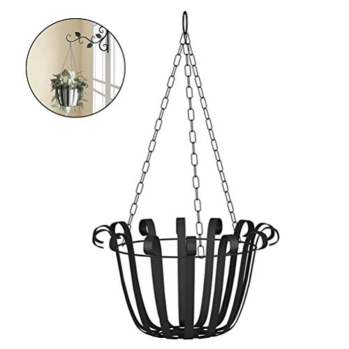 Kooshy Flower basket, iron rustic finish hanging basket plant basket, European style wall hanging flower pot holder for garden plants
