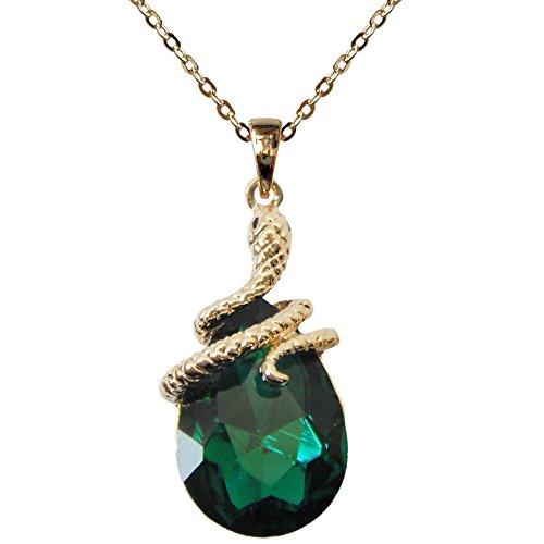 "Navachi 18k Gold Plated Water Drop Crystal Green Zircon Az6003p Snake Pendant Necklace 16""+2"""