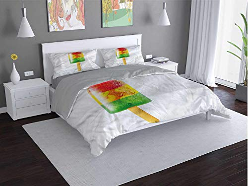 Toopeek Summer 3-pack (1 duvet cover and 2 pillowcases) Tasty-Fruity-Popsicle-Sweet Polyester (Twin)