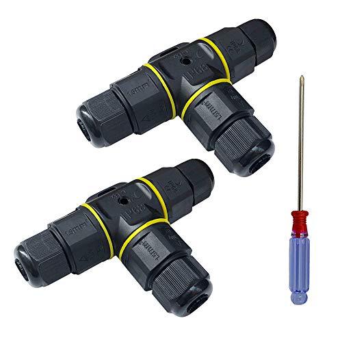 QitinDasen 2Pcs Premium Kabelverbinder Wasserdicht IP68, 3 Polig Verbindungsbox Verbindungsmuffe, T-Form Kabelverbindungs-Box für den Außenbereich, für 5~9mm Kabeldurchmesser (Schwarz, PA66)