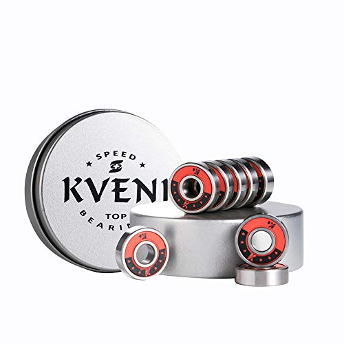 KVENI Skateboard Bearings, 608rs Premium Ball Bearing – Pro Longboard Bearings for Quad Skate, Inline Rollerblades, Scooters, Spinners, ABEC, 8 Pack (Red)