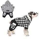 PAWZ Road Camisa para Perros Abrigo a Cuadros Sudadera con Capucha Jersey con 4 Cuatro piernas Ropa de Invierno para Mascotas Chaqueta cálida y Suave para Perros pequeños y medianos Negro M