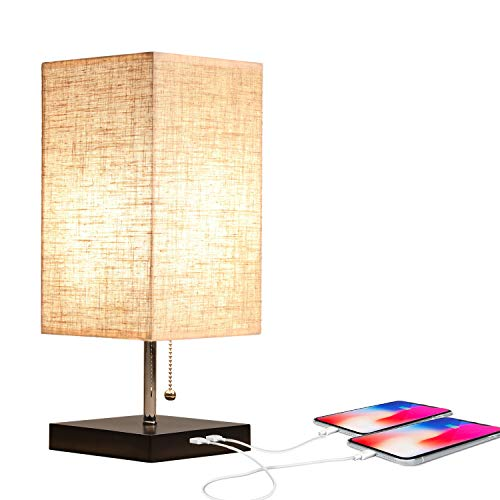 Table Lamp with USB Ports, Modern Nightstand Lamp with Pull Chain Fabric Linen Lampshade Perfect for Bedroom Living Room Office (Large)