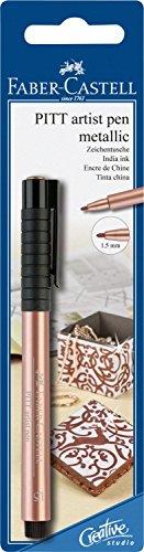 Faber-Castell 167393 - Tuschestift Pitt artist pen, Stärke 1.5 mm, Blisterkarte, kupfer