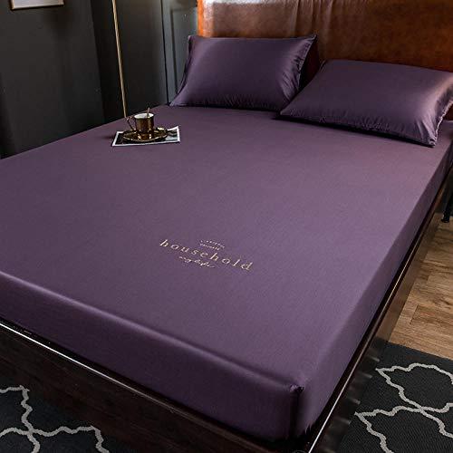 GTWOZNB Protector de colchón - óptimo antiácarosImpresión de Bordado de sábanas de algodón-Elegant Purple_200 * 220cm