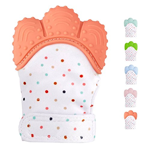 Teething Mitten for Infants, Baby Boys&Girls :: Silicone Teething Mitt Teether Gloves BPA Free :: Hombae Self-Soothing Pain Relief Mitt, Teething Toys, Ideal Baby Shower Gift (Red-Orange)