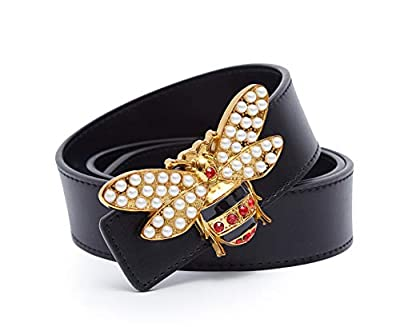 """XYZDOUBLE Unisex Big Bee Style Women Men Cowhide Genuine Leather Casual Dress Belt [3.8CM Width] (Big Bee, 105CM Waist Siz 30~33"""")"""