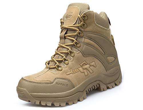 IYVW A09 Camuflaje Botas Tactical Militar para Hombre | Botas Tácticas del Ejército para Hombres | Botas de Senderismo | Botas de Combate | Botas de Caza Marrón 41 EU
