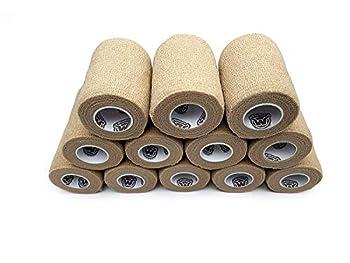 WildCow 3  Tan Vet Wrap Tape Bulk 12 Pack Cohesive Bandage Wrap Self Adherent Grip Rolls