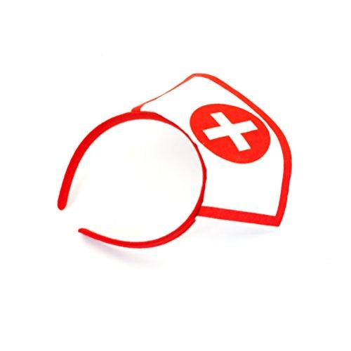 Oblique-Unique® Krankenschwester Haarreifen weiß/rot mit Kreuz - sexy Nurse