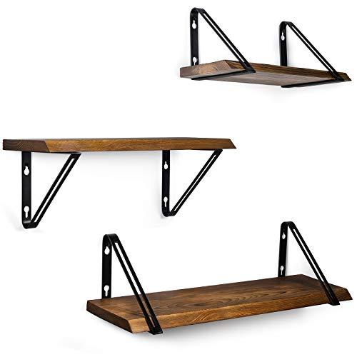 TJ.MOREE Estantes industriales de madera para baño, juego de 3 montados en la pared, decoración de granja para sala de estar, cocina - marrón rústico