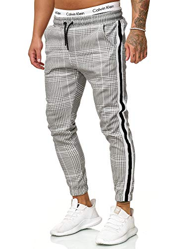 OneRedox Herren | Jogginghose | Trainingshose | Sport Fitness | Gym | Training | Slim Fit | Sweatpants Streifen | Jogging-Hose | Stripe Pants | Modell 1226 Grau Weiss XXL