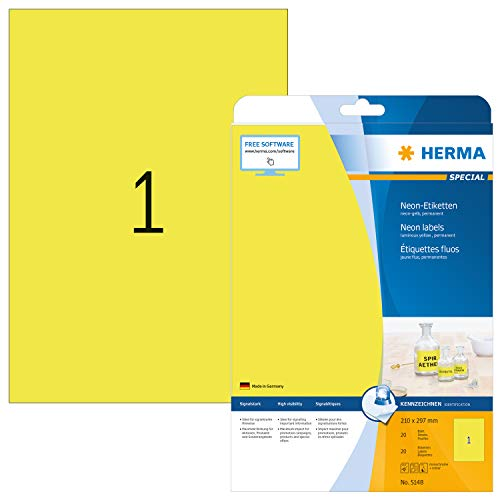 HERMA 5148 Neon-Etiketten DIN A4 (210 x 297 mm, 20 Blatt, Papier, matt) selbstklebend, bedruckbar, permanent haftende Farbetiketten, 20 Klebeetiketten, neon-gelb