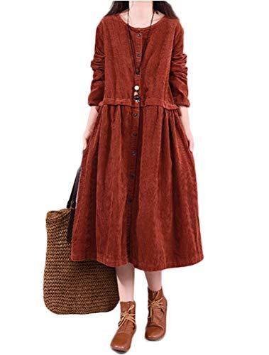 Mordenmiss Women's Button Down Dress Corduroy Long Sleeve Pleated Shirt Dress (L,Coffee)