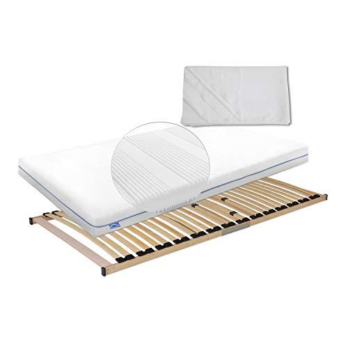 Wolkenwunder Sparset Wellflex Multi Matratze inkl. Lattenrost & Hygieneauflage mit Nässeschutz 90 x 200 cm