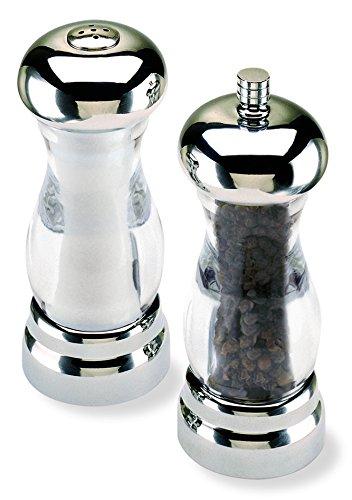 Olde Thompson 5.75' Del Sol Brushed Nickel Plated Pepper Mill and Salt Shaker Set