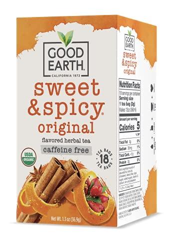 Good Earth Organic Herbal Tea, Sweet & Spicy, Caffeine Free, 18 Count (Pack of 6)