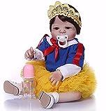 Xyfw 57 CM Blancanieves De Cuerpo Completo De Silicona Niña Reborn Bebés Muñeca Juguetes Princesa Bebés Muñeca Peluca Pelo Regalo De Cumpleaños, Blue Eyes