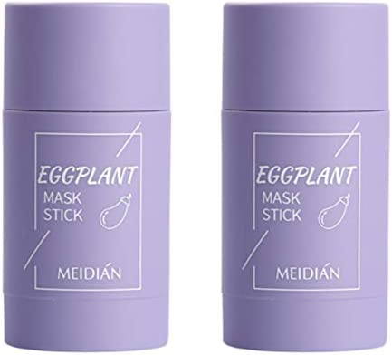2 Packs Green Tea Purifying Clay Stick Mask Eggplant Plant Extracts Solid Mask Acne removing product image
