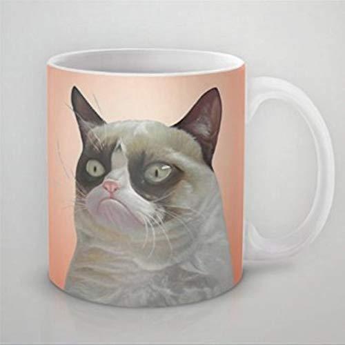 Lustige Kaffeetasse Grumpy Cat Orange Kaffeetasse Kaffeetasse 313 ml Keramik Kaffeetasse Tasse Bestes Geschenk oder Souvenir für Männer Frauen Geburtstag Festival Weihnachten