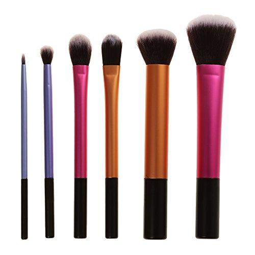 perfeclan Kit 6pcs Brosse Pinceaux de Maquillage à Blush Fond de Teint Poudre Eyeliner Liquide en Fibre Synthétique Doux