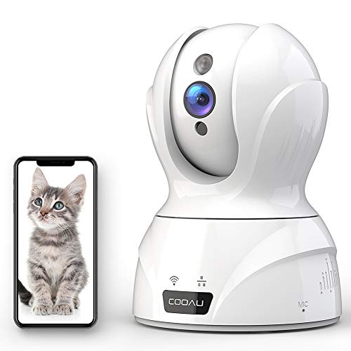 COOAU 1080P HD Home Security Camera, AI WiFi IP Pet Camera Wireless Security Camera (white1)