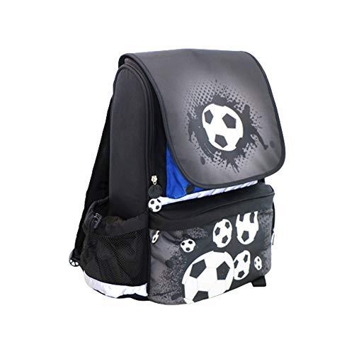 Real Republic Schulranzen, Schwarzer Kinderrucksack mit Fußball-Muster für Jungen - Hochwertiger Schulrucksack mit hohem Ideal für die Einschulung - Inkl. praktischer Sporttasche, 19 Liter