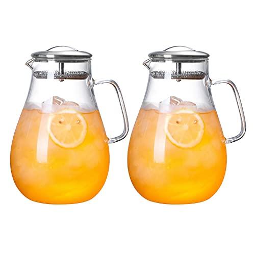 QAX Jarra, Resistente Calor Jarra De Agua, Jarra De Vidrio Salvo-para Té Helado Leche Jugo Bebida FríA Y Caliente Bebidas Café Limonada CóCtel Vino,Set B