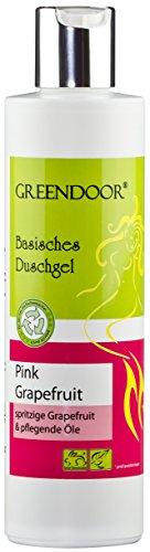 Greendoor Basisches Duschgel Pink Grapefruit 250ml biologisch abbaubar, Natur für die Haut aus Bio Kokosöl, frisch fruchtig herb, OHNE Silikon Sulfate Parabene, outdoor geeignet, natural