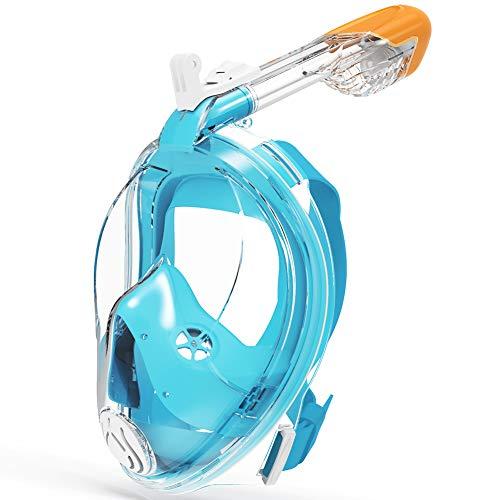 G2RISE SN02 máscara de esnórquel de cara completa, sistema de flujo de aire fácil con un caudal volumétrico mínimo y visión panorámica de 180 ° con diseño de lente integrado para una experiencia segura de esnórquel para adultos y niños