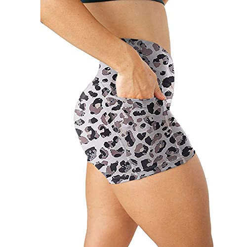 KUOGE Women's High Waisted Biker Shorts Cross Waist Workout Yoga Short with Pockets (#07,XL)