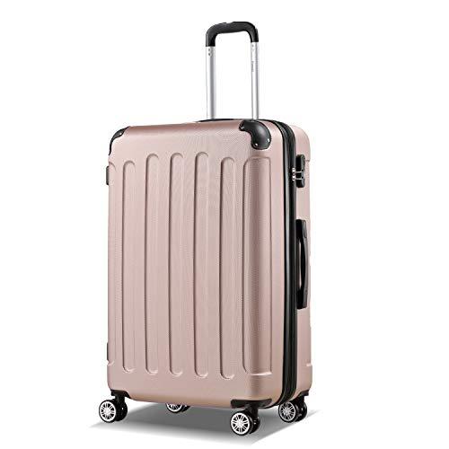 Flexot 2045 Koffer - Farbe Rosegold Größe XL Hartschalen-Koffer Trolley Rollkoffer Reisekoffer 4 Rollen