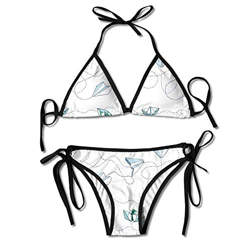 Garlincao Papierboote Flugzeuge Bikini Damen Sommer Badebekleidung Triangle Top Bikinis Badeanzug 2-teiliges Set