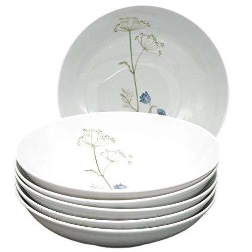 Kahla 39F191A50001C Wildblume blau rot Tellerset für 6 Personen Porzellan 6-teilig Suppenteller Blumendekor Tiefe Teller rund Nudelteller