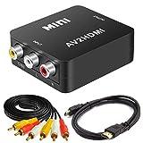 Bias&Belief RCA a HDMI Adaptador, AV a HDMI Convertidor, 3RCA Composite CVBS Video Audio Converter con Cables HDMI y Cables RCA, Compatible con PAL/NTS,Negro