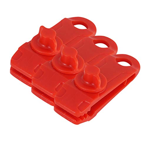 Kashyk 3 Piece Tarp Clips Pine Tent Poppers Clothes Hangers High Performance Camping Clamp Clips Tent, Reusable Heavy Duty Tightening the Lock Handle for Outdoor Camping Garden, plastic, red, One size